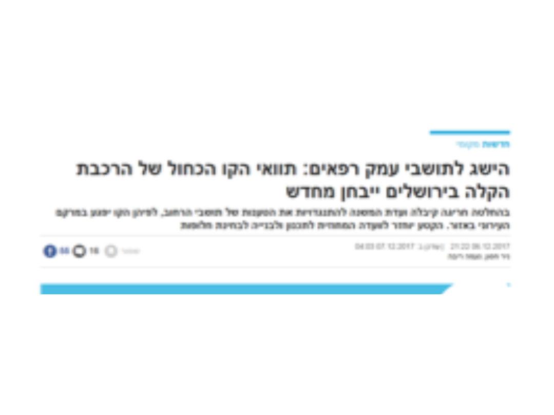 הישג לתושבי עמק רפאים: תוואי הקו הכחול של הרכבת הקלה בירושלים ייבחן מחדש