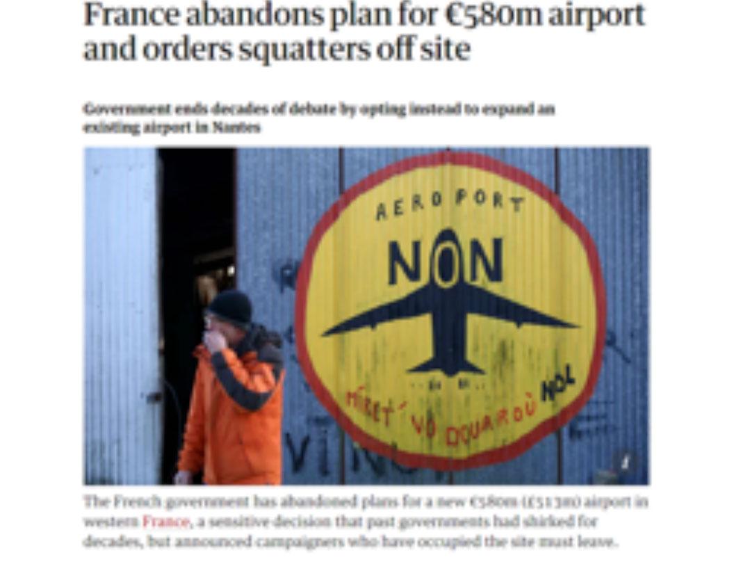 מאבק של 60,000 איש בצרפת הביא לביטול החלטת ממשלה להקים שדה תעופה בעמק הלואר