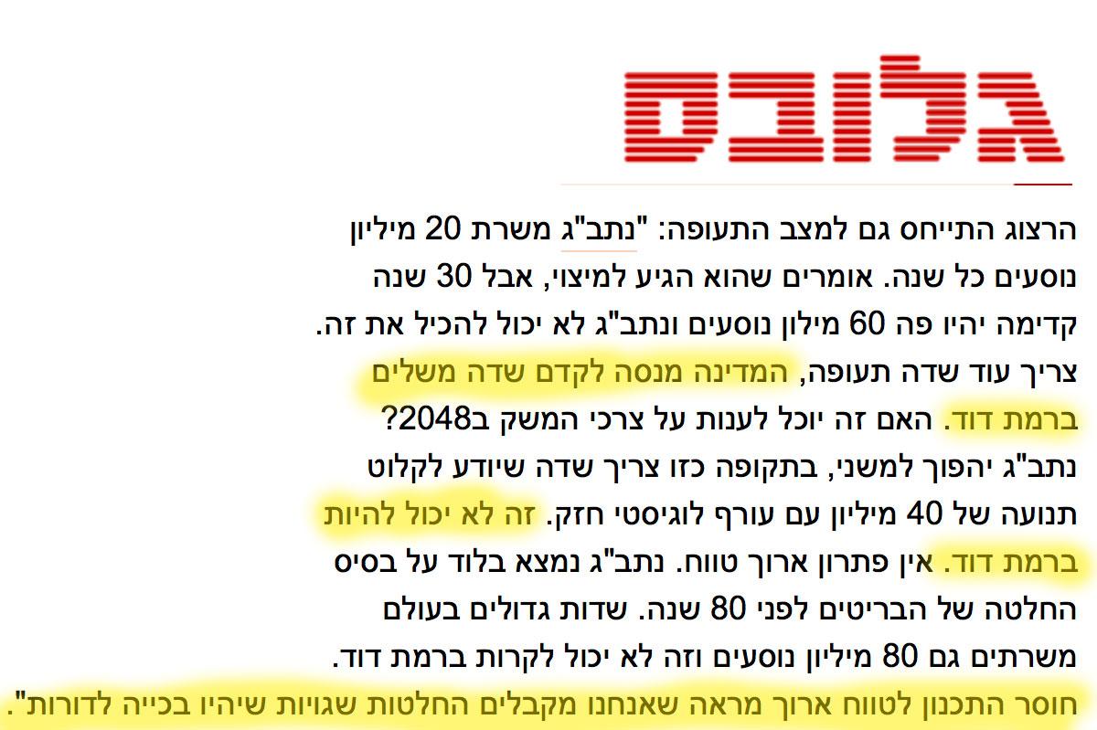 חן הרצוג, שותף וכלכלן ראשי BDO התבטא נגד שדה תעופה בינ״ל ברמת דוד